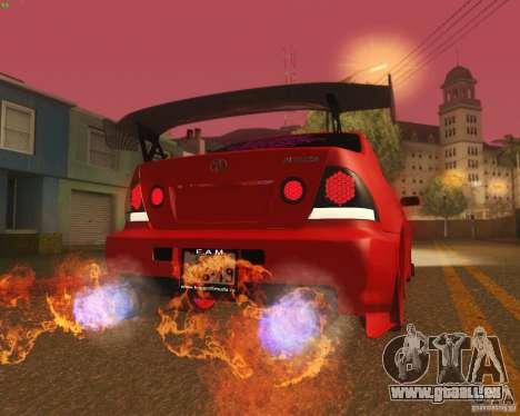 Toyota Altezza Drift Style v4.0 Final für GTA San Andreas Unteransicht