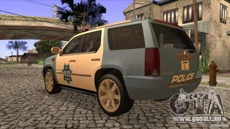 Cadillac Escalade 2007 Cop Car pour GTA San Andreas sur la vue arrière gauche