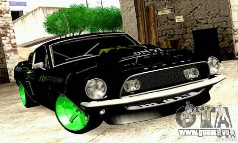 Shelby GT500 Monster Drift pour GTA San Andreas sur la vue arrière gauche