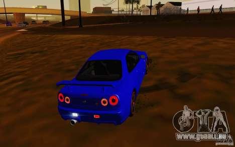 Nissan Skyline R34 GT-R V2 pour GTA San Andreas vue arrière