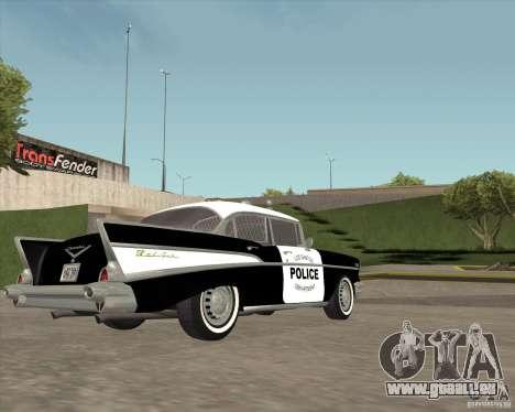 Chevrolet BelAir Police 1957 für GTA San Andreas Rückansicht