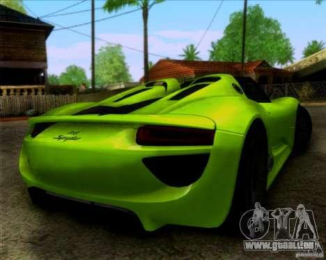 Porsche 918 Spyder Concept Study pour GTA San Andreas laissé vue