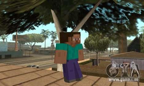 Steve de la peau de Minecraft jeu pour GTA San Andreas deuxième écran