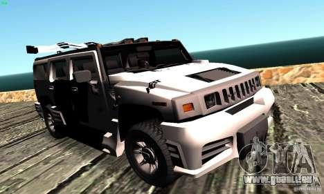 Hummer H2 Tunable für GTA San Andreas zurück linke Ansicht