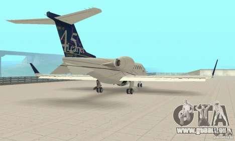 Bombardier Leardjet 45XR für GTA San Andreas zurück linke Ansicht