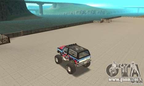 Chevrolet Blazer K5 Monster Skin 1 pour GTA San Andreas sur la vue arrière gauche