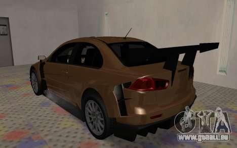 Mitsubishi Lancer Evolution X pour GTA San Andreas vue de dessus