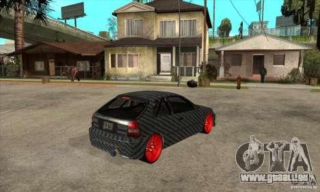Honda Civic Carbon Latvian Skin pour GTA San Andreas vue arrière