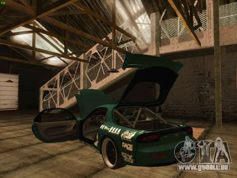 Mazda RX7 rEACT pour GTA San Andreas vue de dessus