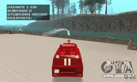 Incendie ZIL-130 pour GTA San Andreas vue intérieure