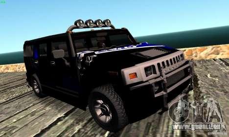 Hummer H2 Tunable für GTA San Andreas Rückansicht