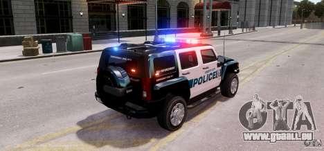 Hummer H3X 2007 LC Police Edition ELS pour GTA 4 Vue arrière de la gauche