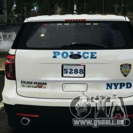 Ford Explorer NYPD ESU 2013 [ELS] für GTA 4 obere Ansicht