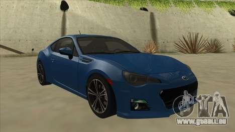 Subaru BRZ 2013 Tunable pour GTA San Andreas laissé vue