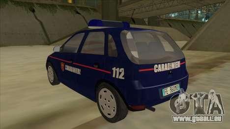 Opel Corsa 2005 Carabinieri pour GTA San Andreas vue arrière