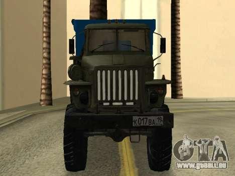 Ural 4320 Tonar pour GTA San Andreas vue arrière