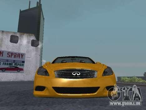 Infinity G37 S Cabriolet pour GTA San Andreas vue intérieure
