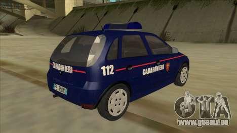 Opel Corsa 2005 Carabinieri pour GTA San Andreas vue de droite