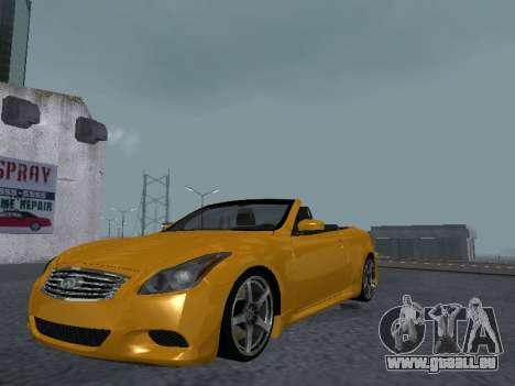 Infinity G37 S Cabriolet pour GTA San Andreas vue arrière