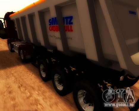Remorque Schmitz Cargo Bull pour GTA San Andreas sur la vue arrière gauche