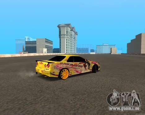 Nissan Skyline R34 Azusa Mera pour GTA San Andreas sur la vue arrière gauche