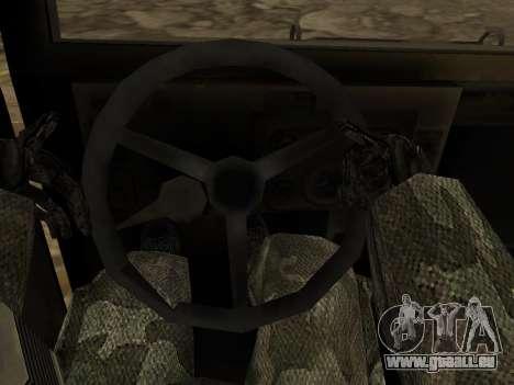 Hamvee M-1025 de Battlefiled 2 pour GTA San Andreas vue intérieure