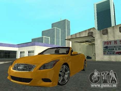 Infinity G37 S Cabriolet pour GTA San Andreas sur la vue arrière gauche