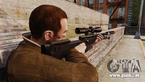 Fusil de sniper AW L115A1 avec un silencieux v4 pour GTA 4 secondes d'écran