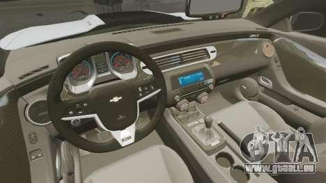 Chevrolet Camaro ZL1 2012 pour GTA 4 est une vue de l'intérieur