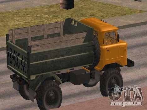 Camion gaz-66 pour GTA San Andreas vue de dessous