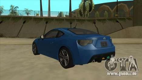 Subaru BRZ 2013 Tunable pour GTA San Andreas vue arrière