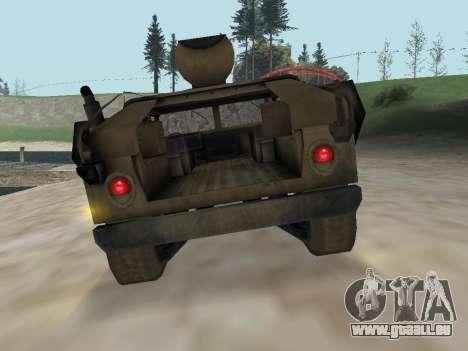 Hamvee M-1025 de Battlefiled 2 pour GTA San Andreas vue arrière