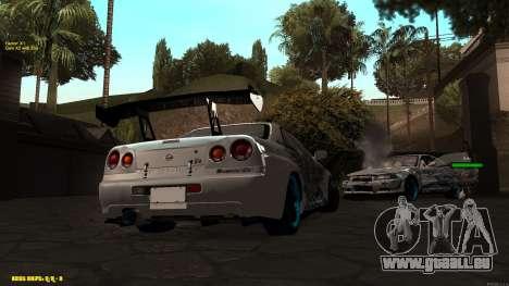 Nissan Skyline GTR 34 CIAY für GTA San Andreas zurück linke Ansicht