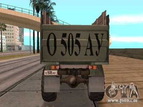 Camion gaz-66 pour GTA San Andreas vue intérieure
