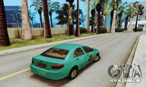 Toyota Corolla City Mastercab pour GTA San Andreas sur la vue arrière gauche