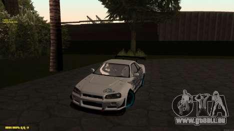 Nissan Skyline GTR 34 CIAY pour GTA San Andreas laissé vue