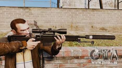 Fusil de sniper AW L115A1 avec un silencieux v4 pour GTA 4