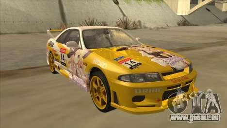 Nissan Skyline R33 Itasha pour GTA San Andreas vue arrière