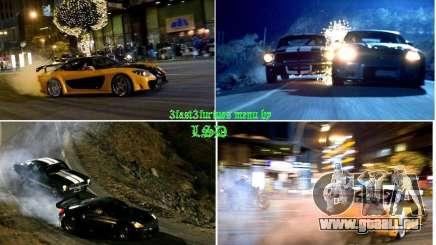 Rapide et le furieux fond du 3 menu pour GTA San Andreas