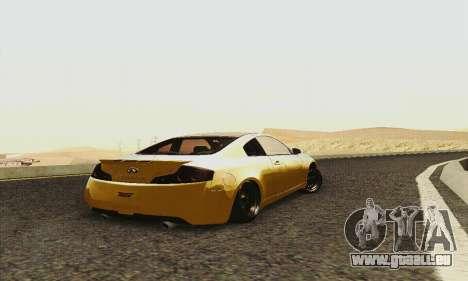 Infiniti G35 Hellaflush pour GTA San Andreas vue arrière