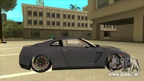 Nissan GT-R R35 Camber Killer pour GTA San Andreas sur la vue arrière gauche
