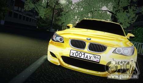 BMW M5 Gold pour GTA San Andreas sur la vue arrière gauche