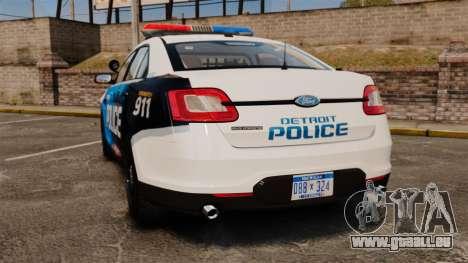 Ford Taurus 2010 Police Interceptor Detroit pour GTA 4 Vue arrière de la gauche