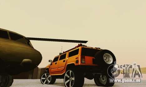 Hummer H2 Monster pour GTA San Andreas sur la vue arrière gauche