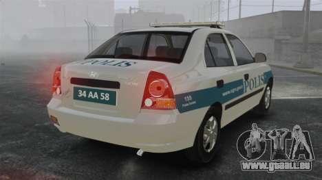 Hyundai Accent Admire Turkish Police [ELS] pour GTA 4 Vue arrière de la gauche