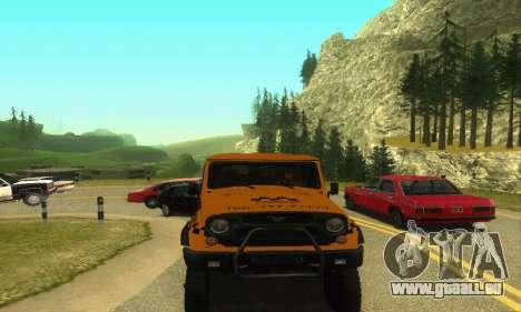 UAZ Hunter Taxi pour GTA San Andreas sur la vue arrière gauche