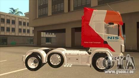 Scania R620 Nis Kamion pour GTA San Andreas sur la vue arrière gauche