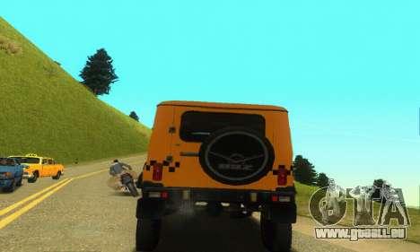 UAZ Hunter-Taxi für GTA San Andreas Rückansicht