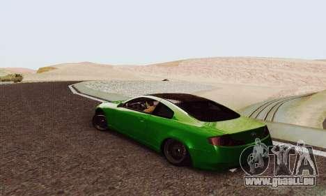 Infiniti G35 Hellaflush pour GTA San Andreas sur la vue arrière gauche