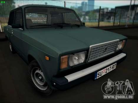 LADA 2107 Riva pour GTA San Andreas vue arrière